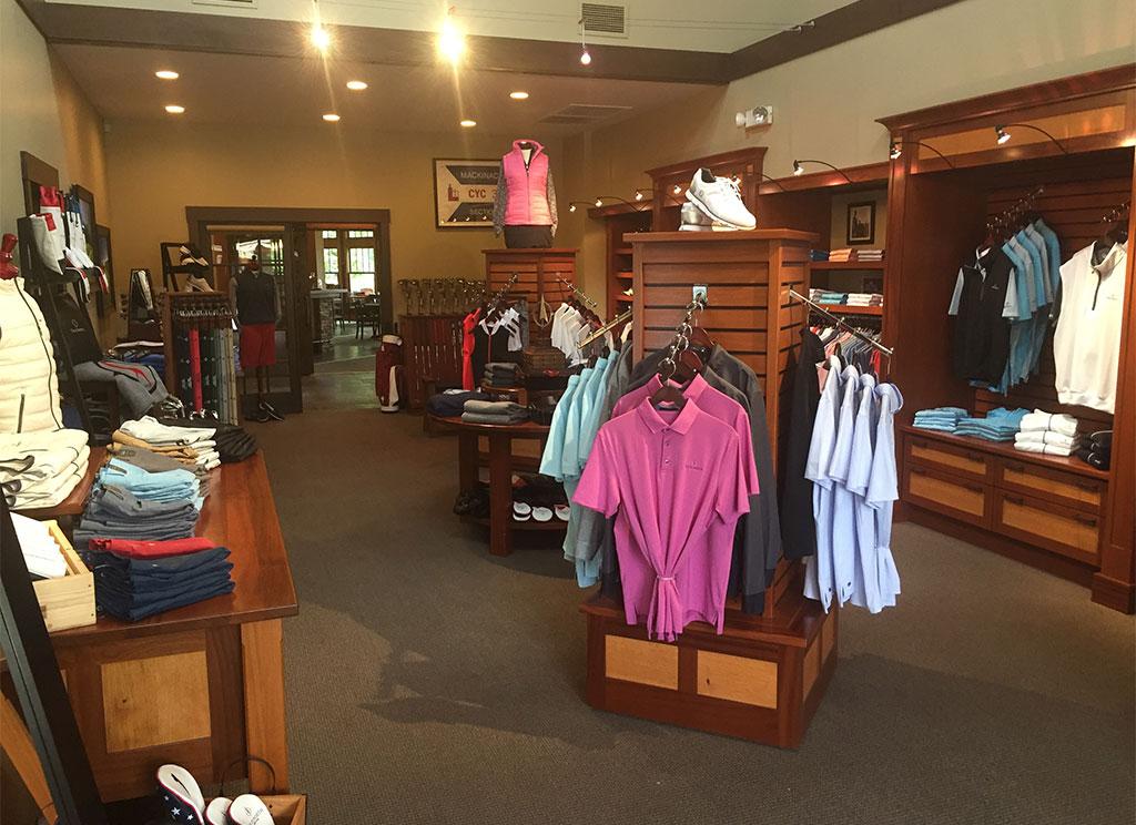 interior of true north golf shop